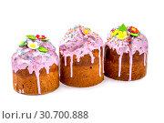 Купить «Пасхальные куличи домашней выпечки на белом фоне», фото № 30700888, снято 27 апреля 2019 г. (c) V.Ivantsov / Фотобанк Лори