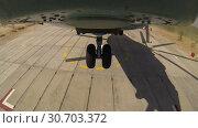 Купить «Helicopter Mi 26 Takes Off From A Site Area», видеоролик № 30703372, снято 14 сентября 2017 г. (c) Pavel Biryukov / Фотобанк Лори