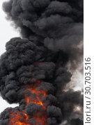 Купить «Сильный пожар, языки пламени, клубы черного ядовитого дыма в небе», фото № 30703516, снято 18 апреля 2019 г. (c) А. А. Пирагис / Фотобанк Лори