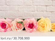 Купить «Pink Rose Mock Up. Styled Stock Photography. Floral Frame, Styled Wall Mock Up. Rose Flower Mockup, Valentine Mothers Day Card, Giftcard, White Desk Mockup», фото № 30708900, снято 27 февраля 2017 г. (c) easy Fotostock / Фотобанк Лори