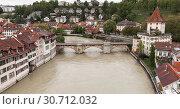 Aare river. Coastal cityscape of Bern (2017 год). Стоковое фото, фотограф EugeneSergeev / Фотобанк Лори