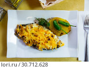 Купить «Stuffed with meat tasty eggplant baked with bechamel sauce», фото № 30712628, снято 26 мая 2019 г. (c) Яков Филимонов / Фотобанк Лори