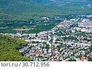 Купить «Top View of Kemer from mountain. Antalya Province, Turkey», фото № 30712956, снято 21 сентября 2018 г. (c) Наталья Двухимённая / Фотобанк Лори