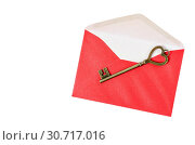 Vintage key on red envelope. Стоковое фото, фотограф PENCHAN / easy Fotostock / Фотобанк Лори