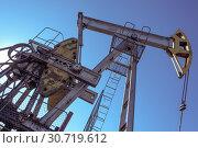 Купить «Oil pumpjack, industrial equipment. Rocking machines for power generation. Extraction of oil.», фото № 30719612, снято 7 июля 2017 г. (c) bashta / Фотобанк Лори
