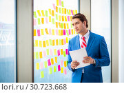 Купить «Young handsome employee with many conflicting priorities», фото № 30723668, снято 15 августа 2018 г. (c) Elnur / Фотобанк Лори