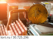 Купить «Golden bitcoin on the motherboard. Business concept of digital cryptocurrency. Blockchain technology, bitcoin mining concept», фото № 30725296, снято 4 апреля 2019 г. (c) Зезелина Марина / Фотобанк Лори