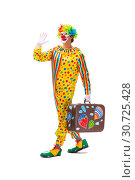 Купить «Male clown isolated on white», фото № 30725428, снято 28 сентября 2018 г. (c) Elnur / Фотобанк Лори