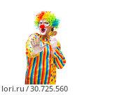 Купить «Male clown isolated on white», фото № 30725560, снято 28 сентября 2018 г. (c) Elnur / Фотобанк Лори