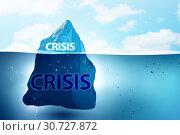 Купить «Crisis and recession concept with iceberg - 3d rendering», фото № 30727872, снято 3 апреля 2020 г. (c) Elnur / Фотобанк Лори