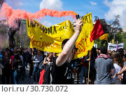 Купить «May 9, 2019 - Barcelona, Spain - 1,200 people have participated in a unified demonstration with students, union organizations and political groups in Barcelona for the reduction of university fees.», фото № 30730072, снято 9 мая 2019 г. (c) age Fotostock / Фотобанк Лори