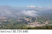 Купить «Panoramic view of the Sicilian coast from mount Erice. The province of Trapani in Sicily, Italy», видеоролик № 30731640, снято 10 мая 2019 г. (c) Алексей Кузнецов / Фотобанк Лори