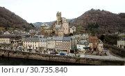 Купить «Picturesque view of French medieval village Estaing on Lot river», видеоролик № 30735840, снято 29 января 2019 г. (c) Яков Филимонов / Фотобанк Лори