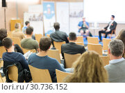Купить «Round table discussion at business and entrepreneurship convention.», фото № 30736152, снято 17 февраля 2020 г. (c) Matej Kastelic / Фотобанк Лори