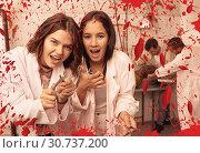 Купить «Girls frightening with medical instruments», фото № 30737200, снято 8 октября 2018 г. (c) Яков Филимонов / Фотобанк Лори