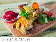 Купить «Poultry dish baked in oven», фото № 30737328, снято 24 мая 2019 г. (c) Яков Филимонов / Фотобанк Лори