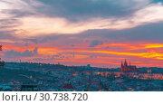 Купить «Sunset timelapse of Prague Castle, Czech Republic», видеоролик № 30738720, снято 13 мая 2019 г. (c) Виталий Поздеев / Фотобанк Лори
