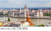 Купить «Вид на Пешт и парламент с Рыбацкого бастиона. Будапешт. Венгрия», фото № 30739404, снято 30 апреля 2019 г. (c) Сергей Афанасьев / Фотобанк Лори