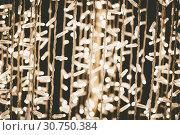 Купить «Christmas background concept. New year decoration lights, garland with many small lamps.led light bokeh abstract background», фото № 30750384, снято 17 ноября 2018 г. (c) easy Fotostock / Фотобанк Лори