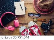 Купить «Tourism planning and equipment needed for the trip on wooden floor», фото № 30751044, снято 2 февраля 2016 г. (c) easy Fotostock / Фотобанк Лори