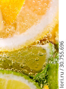 Купить «Pieces of citrus fruits of lemon and lime with bubbles in a glass of water. Macro photo of summer refreshing cocktail», фото № 30755696, снято 2 июля 2018 г. (c) Ярослав Данильченко / Фотобанк Лори
