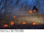 ghost with halloween pumpkins in night forest. Стоковое фото, фотограф Майя Крученкова / Фотобанк Лори