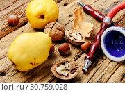 Купить «Oriental shisha hookah with aroma pear for relax.Pear shisha.Autumn hookah menu», фото № 30759028, снято 27 октября 2018 г. (c) easy Fotostock / Фотобанк Лори