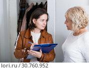 Купить «Social survey with mature woman», фото № 30760952, снято 14 ноября 2017 г. (c) Яков Филимонов / Фотобанк Лори