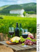 Купить «Red wine, cheese, bread and grapes», фото № 30761176, снято 22 мая 2019 г. (c) Яков Филимонов / Фотобанк Лори