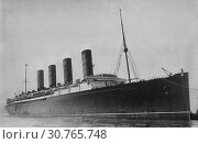 Купить «LOCATION UNKNOWN -- c. 1907-1915 -- The RMS LUSITANIA - a large trans-Atlantic liner that was sunk in 1915 by a German navy U-Boat with great loss of life -- Picture by Atlas Photo Archive.», фото № 30765748, снято 16 июня 2019 г. (c) age Fotostock / Фотобанк Лори