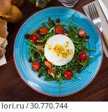 Купить «Salad with Italian burrata cheese; arugula and cherry tomatoes», фото № 30770744, снято 22 июля 2019 г. (c) Яков Филимонов / Фотобанк Лори