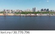 Купить «Traffic along cargo port on Moscow Canal in Moscow, Russia.», видеоролик № 30770796, снято 15 июня 2019 г. (c) Володина Ольга / Фотобанк Лори