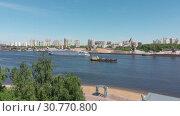 Купить «Traffic along cargo port on Moscow Canal in Moscow, Russia.», видеоролик № 30770800, снято 18 ноября 2019 г. (c) Володина Ольга / Фотобанк Лори