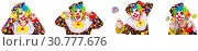 Купить «Funny male clown with lollipop», фото № 30777676, снято 25 мая 2019 г. (c) Elnur / Фотобанк Лори