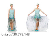 Купить «Caucasian model in blue floral dress isolated on white», фото № 30778148, снято 23 июня 2015 г. (c) Elnur / Фотобанк Лори