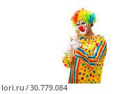 Купить «Male clown isolated on white», фото № 30779084, снято 28 сентября 2018 г. (c) Elnur / Фотобанк Лори