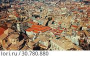 Купить «Aerial view of historic centre of Spanish town of Vic, Catalonia», видеоролик № 30780880, снято 6 марта 2018 г. (c) Яков Филимонов / Фотобанк Лори