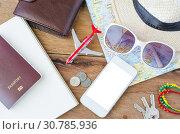 Купить «Tourism planning and equipment needed for the trip.», фото № 30785936, снято 25 ноября 2015 г. (c) easy Fotostock / Фотобанк Лори