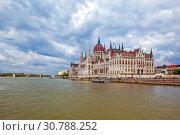 Купить «Вид на Парламент с Дуная. Будапешт. Венгрия», фото № 30788252, снято 30 апреля 2019 г. (c) Сергей Афанасьев / Фотобанк Лори