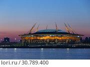 """Купить «Стадион """"Газпром Арена"""". Санкт-Петербург.», фото № 30789400, снято 12 мая 2019 г. (c) Роман Рожков / Фотобанк Лори"""