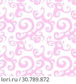 Купить «Vector seamless pattern background with pink swirl», иллюстрация № 30789872 (c) Helen Burceva / Фотобанк Лори