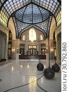 Купить «Gresham palace Four season hotel indoor at Budapest in the night.», фото № 30792860, снято 16 марта 2013 г. (c) age Fotostock / Фотобанк Лори