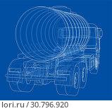 Купить «Truck with tank concept. 3d illustration. Wire-frame style», фото № 30796920, снято 22 мая 2018 г. (c) easy Fotostock / Фотобанк Лори