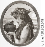 Pandora. In Greek mythology Pandora opened a jar thereby releasing all the evils of humanity. From Ilustracion Artistica, published 1887. (2019 год). Редакционное фото, фотограф Classic Vision / age Fotostock / Фотобанк Лори