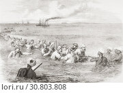 The Indo-European telegraph, landing the cable in the mud at Fao, Persian Gulf. From The Illustrated London News, published 1865. (2019 год). Редакционное фото, фотограф Classic Vision / age Fotostock / Фотобанк Лори