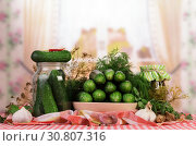 Купить «Pickling, salting harvest of cucumbers for the winter in jars on the kitchen», фото № 30807316, снято 28 августа 2014 г. (c) Сергей Молодиков / Фотобанк Лори