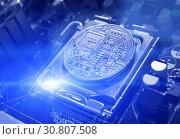 Купить «Silver bitcoin among the electronic computer components, business concept of bitcoin digital cryptocurrency», фото № 30807508, снято 4 апреля 2019 г. (c) Зезелина Марина / Фотобанк Лори