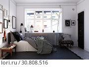 Купить «scandinavian style bedroom interior.», фото № 30808516, снято 24 февраля 2020 г. (c) Виктор Застольский / Фотобанк Лори