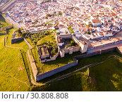 Купить «Panoramic view from drone of the castle in Elvas. Portugal», фото № 30808808, снято 22 апреля 2019 г. (c) Яков Филимонов / Фотобанк Лори