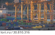 Купить «Timelapse of busy container port», видеоролик № 30810316, снято 20 сентября 2019 г. (c) Данил Руденко / Фотобанк Лори